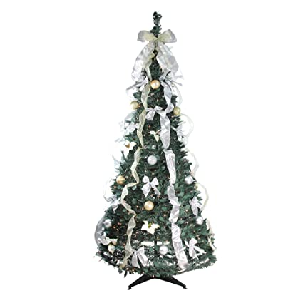 Amazon.com: Northlight 6' Pre-Lit Silver and Gold Decorated Pop-Up ...