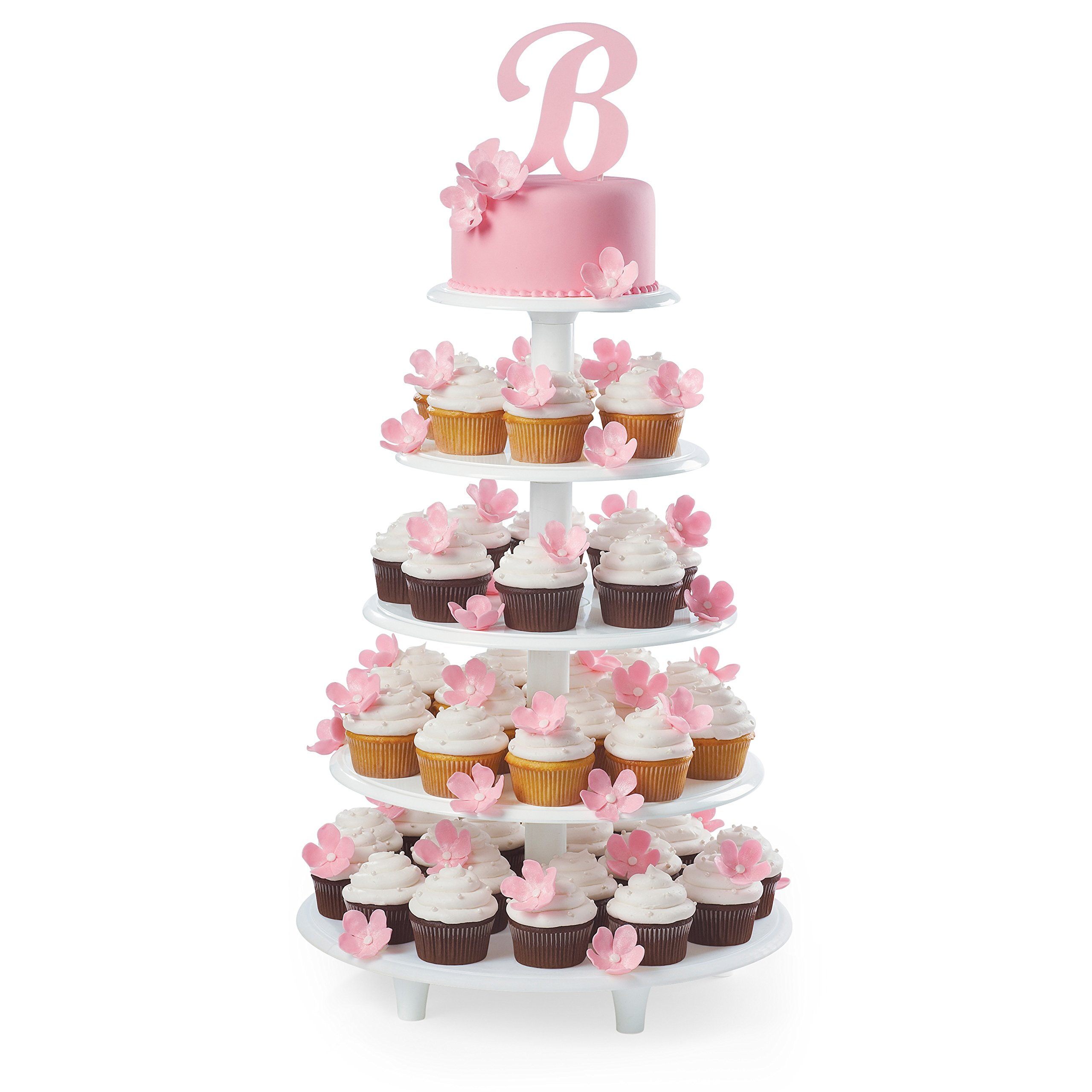 Wilton Towering Tiers Cupcake and Dessert Stand, Great for Displaying Cupcakes, Danishes and Your Favorite Hors d'Oeuvres, White, 3-foot, 28-Piece by Wilton (Image #7)
