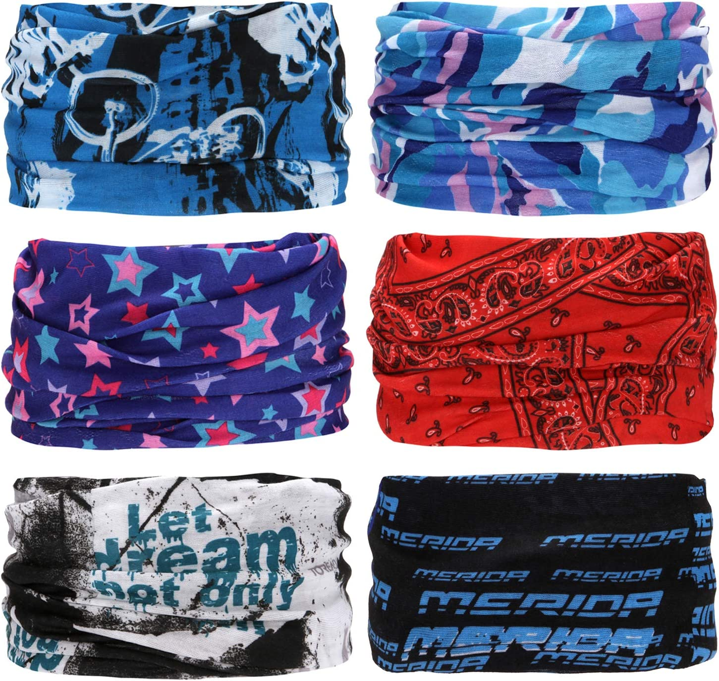 Can be Used as Neck Gaiters Sea Team 6-pack Assorted 18 in 1 Versatile Polyester Fiber Sports /& Casual Headwear Bandannas Balaclavas Masks /& More
