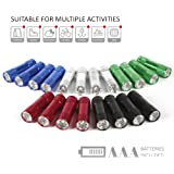 FASTPRO 20-pack Aluminum LED Flashlights Set with 60-piece Batteries Included, 6-LED for brightness, with Lanyard for hang up, Assorted Colors, Great for Camping, Hiking, Hunting, Fishing and BBQ