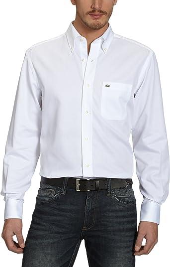 Lacoste - Camisa de Manga Larga para Hombre, Talla 42, Color Blanco 001: Amazon.es: Ropa y accesorios