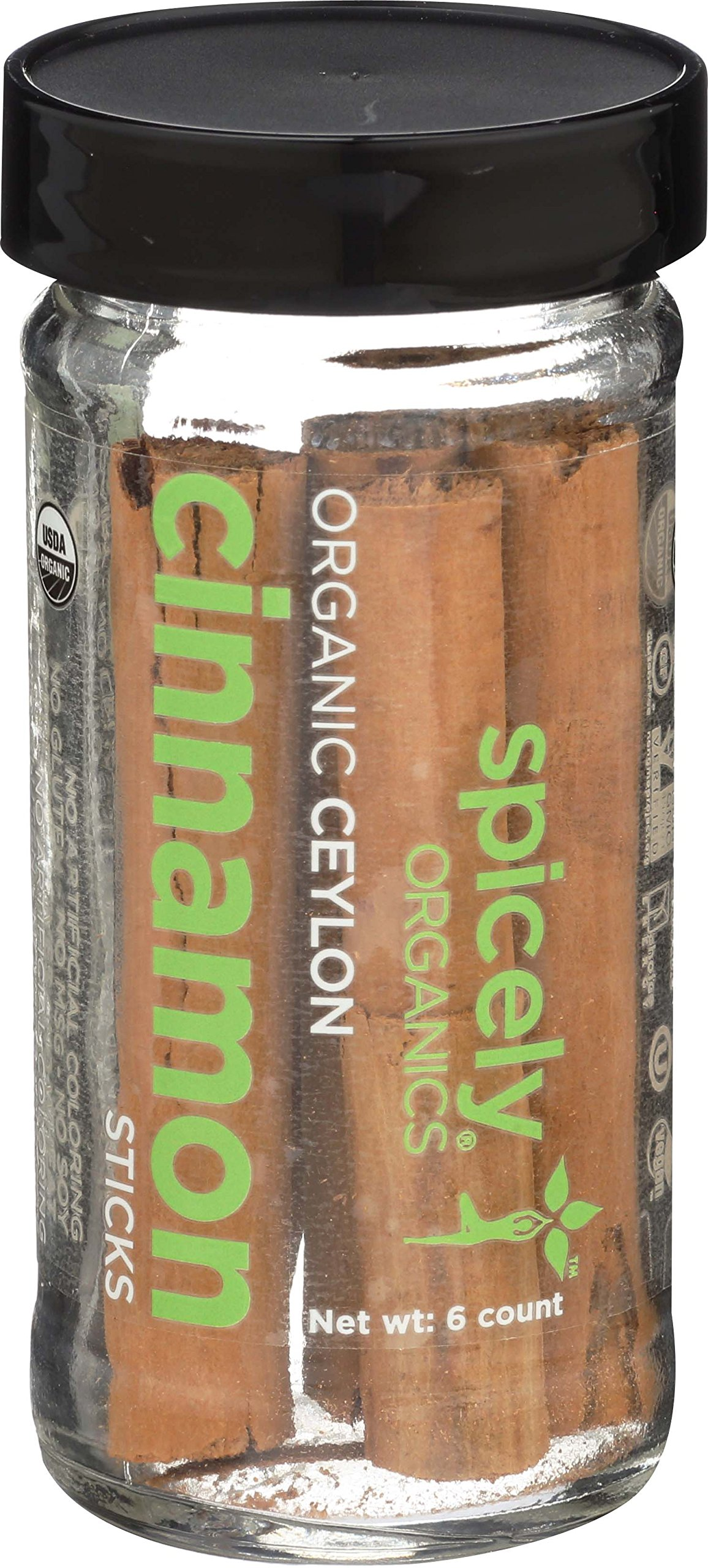Spicely Organic Cinnamon True Sticks (Ceylon) 6 Count Jar Certified Gluten Free by Spicely Organics (Image #1)