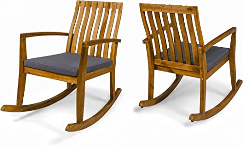 Colmena Outdoor Acacia Wood Rustic Style Rocking Chair with Cushions Set of 2 – Teak and Dark Gray Finish