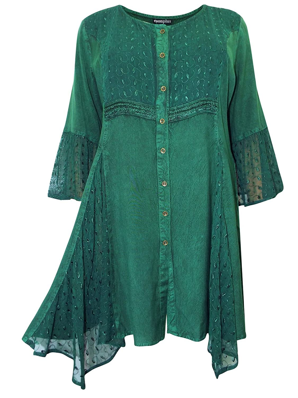 e956df164c3a1 Forest Emerald Green Stonewash Boho Lace Folk Tunic Top Blouse Plus Size 18  to 32 (18 20)  Amazon.co.uk  Clothing