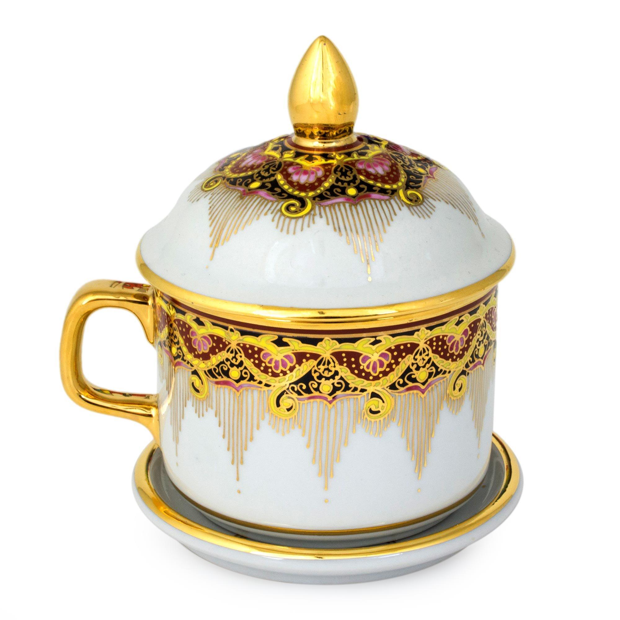 NOVICA Benjarong porcelain teacup, Thai Iyara by NOVICA
