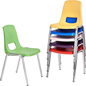 AmazonBasics 16 Inch School Classroom Stack Chair, Chrome Legs, 6 Assorted Color, 6-Pack