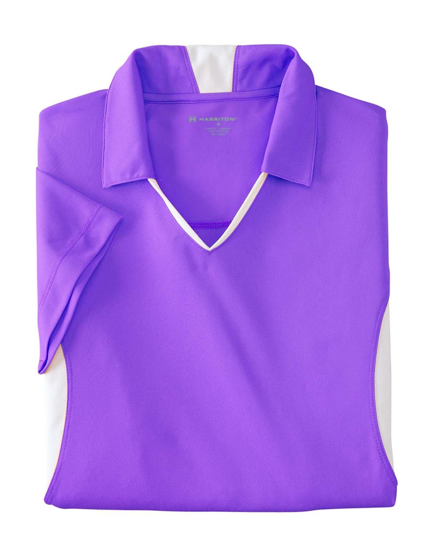 Large TEAM PURPLE//WHITE Harriton Ladies Side Blocked Micro-Pique Polo Shirt