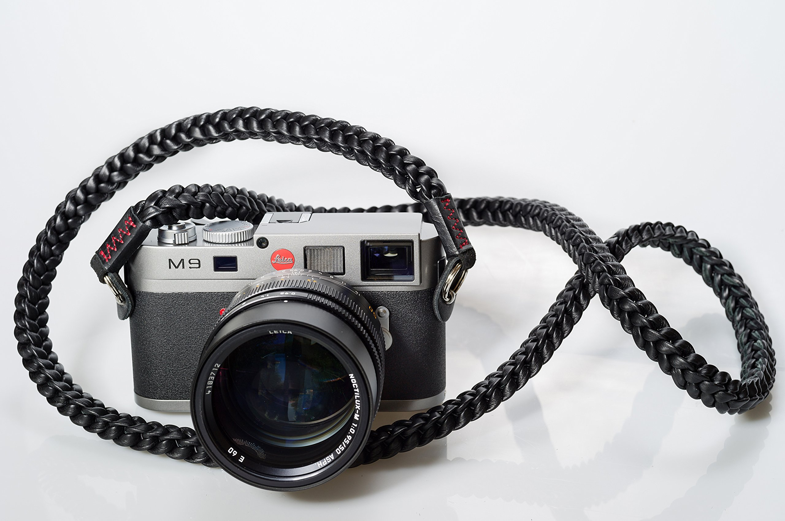 Barton 1972 Pitch Black Braided Leather 1972 XL 50'' (125cm) Leica Sony Fuji Luxury Designer Barton1972 Top Grain Leather by Barton 1972 (Image #2)