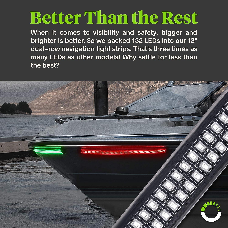 Acelane LED Boat Lights Red and Green Navigation Light Dual Row Strip Light Kit Marine Bow Lighting IP68 Waterproof Flexible for Kayak Pontoon Bass Fishing Boat