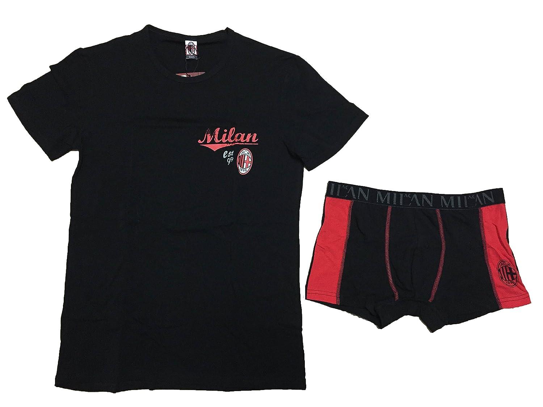 completo intimo bambino ragazzo A.C.M MILAN prodotto ufficiale t shirt girocollo e boxer elastico art.MI12038 (12 ANNI, NERO)