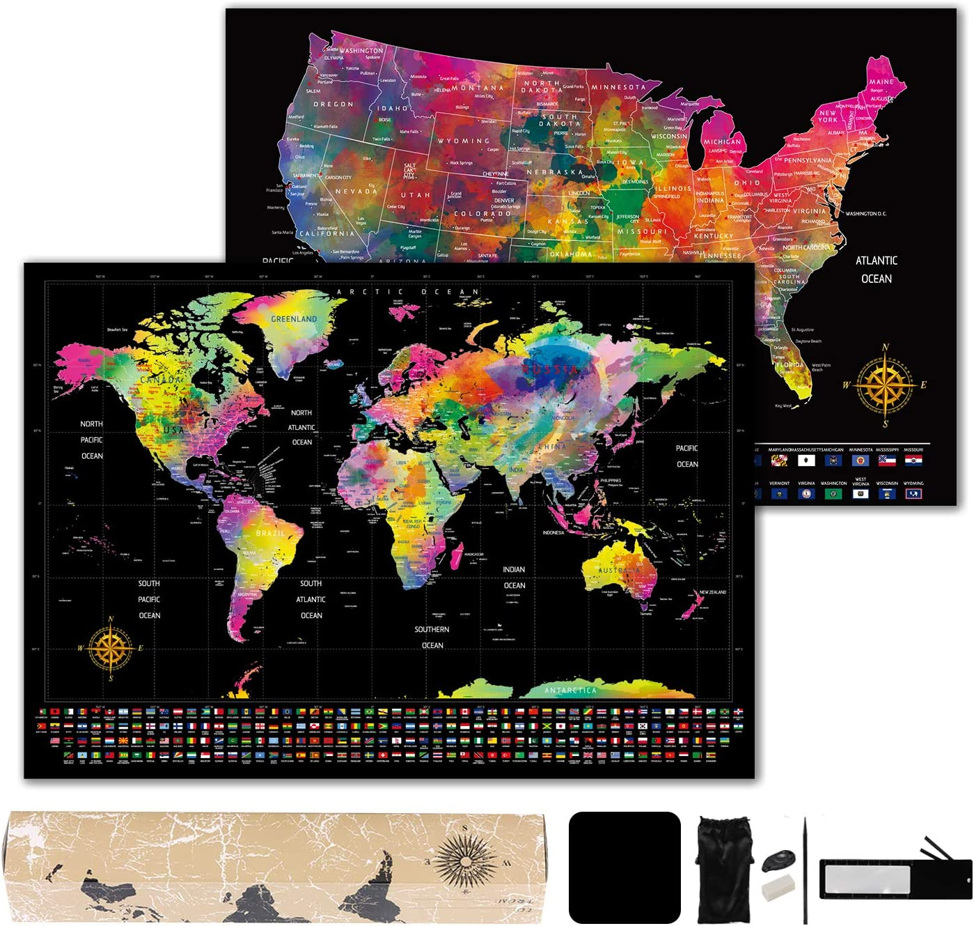 "Scratch Off Map of The World - World Map (23.4"" x 16.5"") + Bonus Scratch Off USA Map with Full Accessories Set & Name-Tagged Gift Box - Perfect Gift for Travelers"