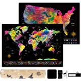 """Scratch Off Map of The World - World Map (23.4"""" x 16.5"""") + Bonus Scratch Off USA Map with Full Accessories Set & Name…"""