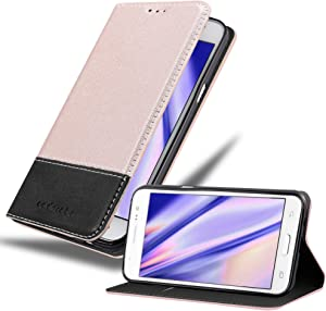 Cadorabo Book Case Compatible with Samsung Galaxy J5 2015 in Rose Gold Black - with Magnetic Closure, Stand Function and Card Slot - Wallet Etui Cover Pouch PU Leather Flip