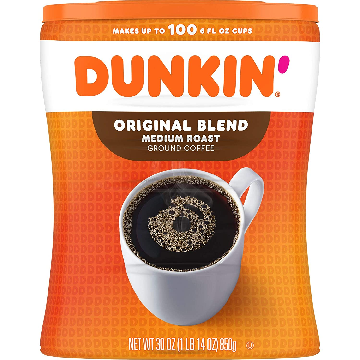 Dunkin' Original Blend Medium Roast Ground Coffee Canister, 30 Ounces (Packaging May Vary)