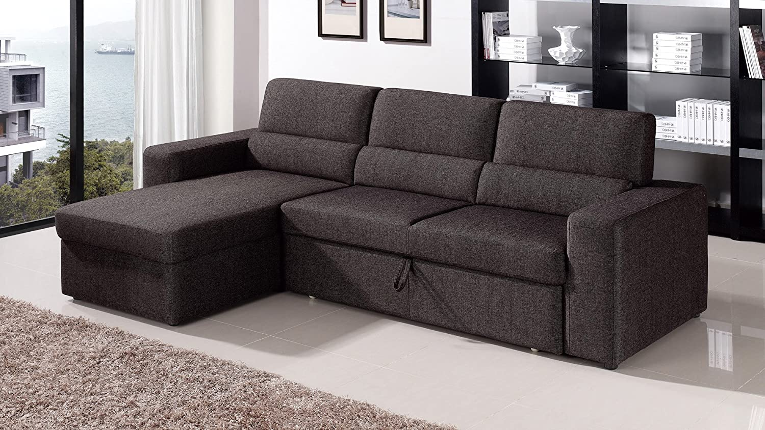 Amazon.com Black/Brown Clubber Sleeper Sectional Sofa - Left Chaise Kitchen u0026 Dining : sleeper sectional with chaise - Sectionals, Sofas & Couches