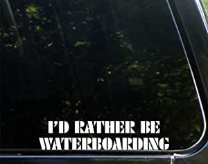 "Sweet Tea Decals I'd Rather Be Waterboarding - 8 3/4""x 2"" - Vinyl Die Cut Decal/Bumper Sticker for Windows, Trucks, Cars, Laptops, Macbooks, Etc."