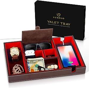LuxDuo Valet Tray, Nightstand Organizer, Valet Tray for Men, Nightstand Organizer Women, Mens Gifts, Mens Valet Tray, Womens Gifts, EDC Tray, Dresser Top Organizer, Mens Organizer Station