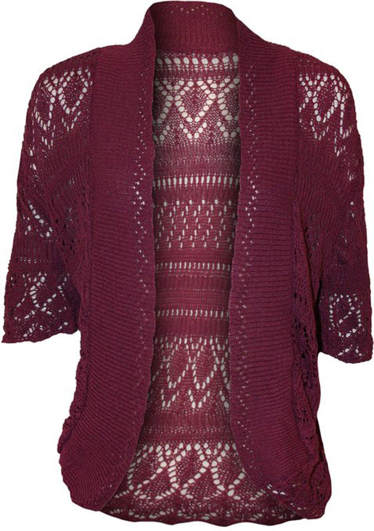 FashionMark Plus Size Women's Crochet Knitted Cardigan Shrug (Khaki Green)