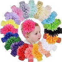 WillingTee 20pcs Baby Girls Headbands Chiffon Flower Soft Stretchy Hair Band Hair Accessories for Baby Girls Newborns…