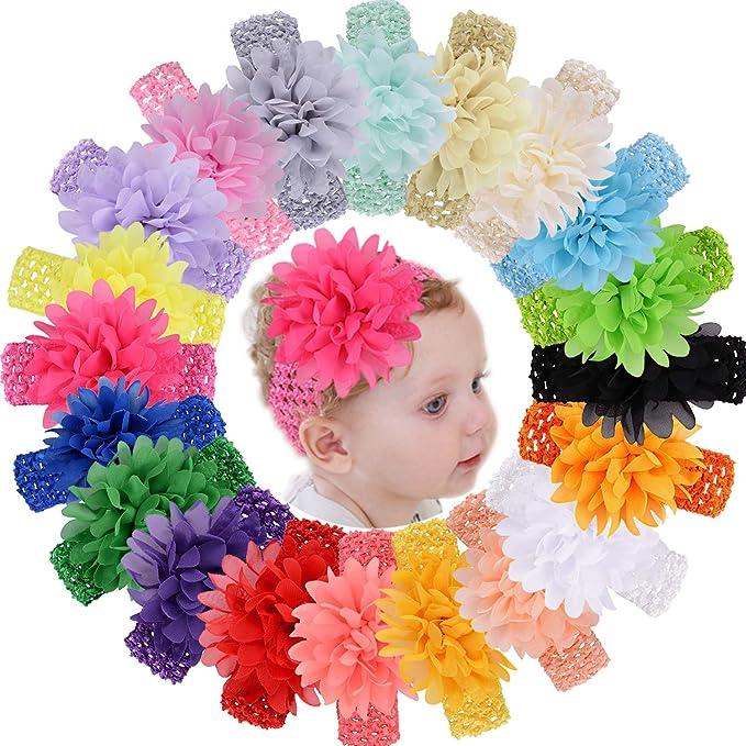 Grey Baby Flower Headband Soft Blue Newborn Tiebacks Flower Headband Newborn Tiebacks Baby Headbands Thin Baby Headbands