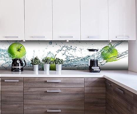 wandmotiv24 Küchenrückwand grüner Apfel Nischenrückwand Spritzschutz Design  M0736 260 x 60cm (B x H) - Hartschaum 3mm Rückwand Küche Fotorückwand ...