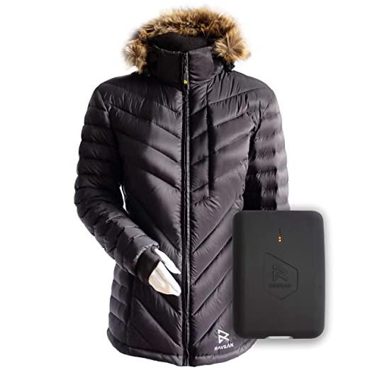 Womens Heated Clothing >> Ravean Women S Down Heated Jacket Lightweight Water Resistant Jacket W Mobile Charging Outlet Detachable Hood Battery