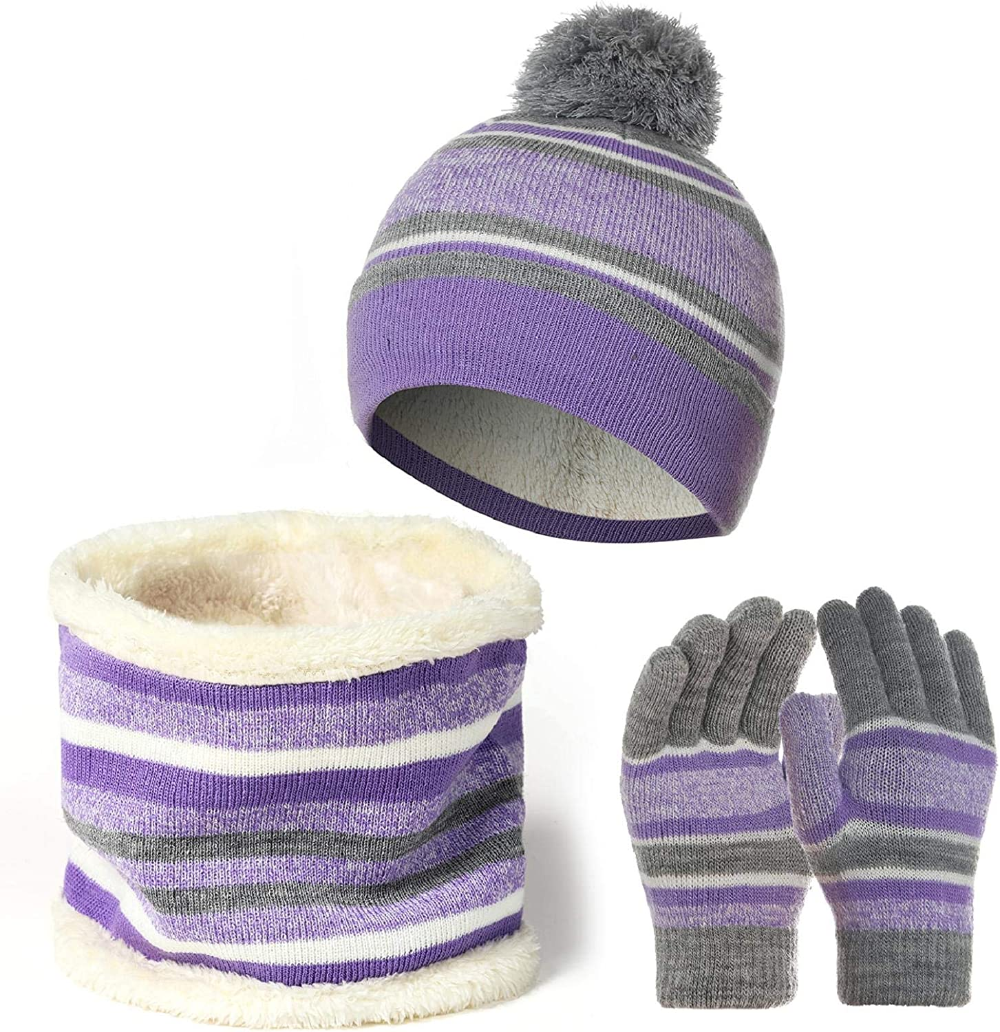 Yuson Girl 3 Pcs Kids Winter Stripe Knitted Bobble Beanie Hat Snood Scarf Gloves Set with Thick Fleece Lining Cotton Thermal Knit Pom Pom Hat Cap Neck Warmer Children Outdoor Boy
