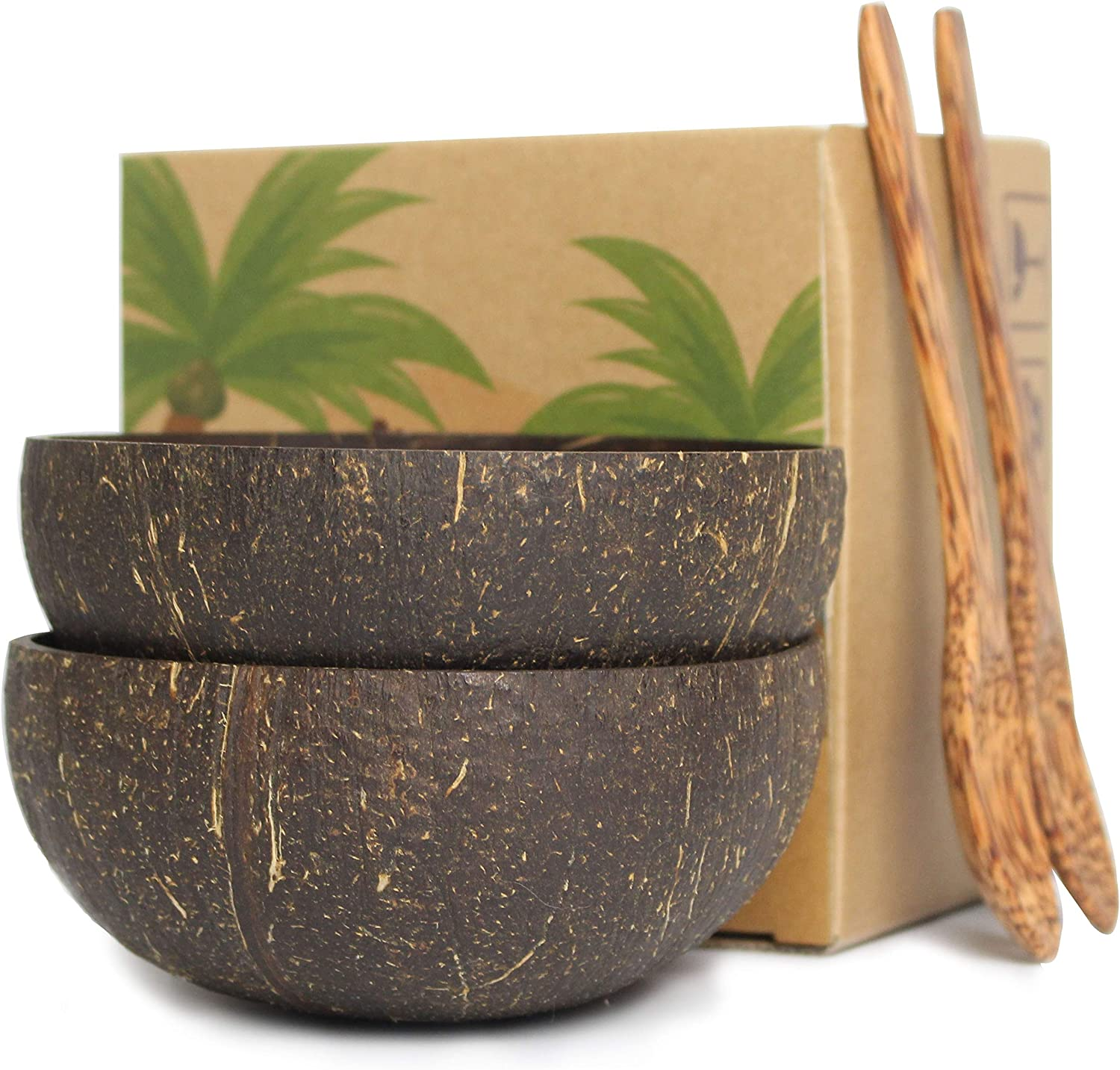 Handcrafted coconut bowls and spoons for acai bowls, buddha bowls, and desserts or cereal.