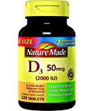 Nature Made Vitamin D3 2000 IU Tablets 220 Ct Value Size