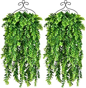 2PCS Boxwood Greenery Garland Artificial Leaf Vines Wall Hanging Plants for Front Porch Hanging Basket Indoor Outdoor Decor,30Inch/Pc