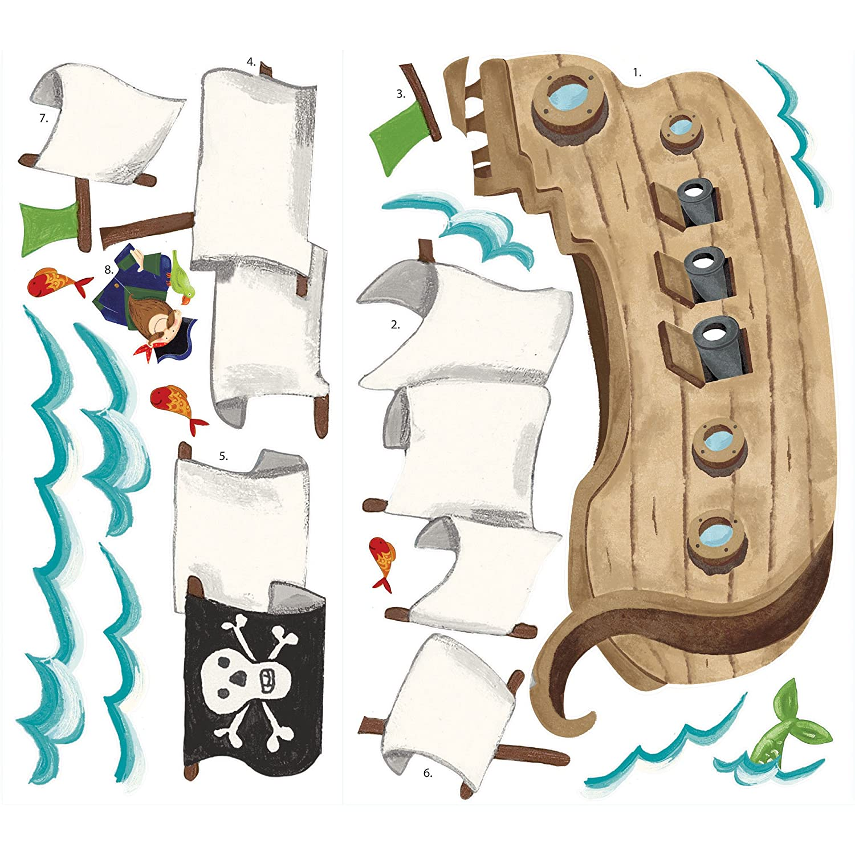 amazon com roommates rmk2042slm pirate ship peel and stick giant amazon com roommates rmk2042slm pirate ship peel and stick giant wall decals home improvement