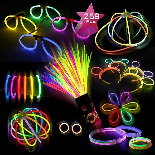 """Doubleme Lot de 100 Bâtons Lumineux Fête Pack - 10 Couleurs - 8"""" Bracelets, Colliers, Kits pour Créer des Bonnets, Lunettes, Boucles D'oreilles, Bracelets Triples, Bandeaux, Fleurs, Boules Lumineuses"""