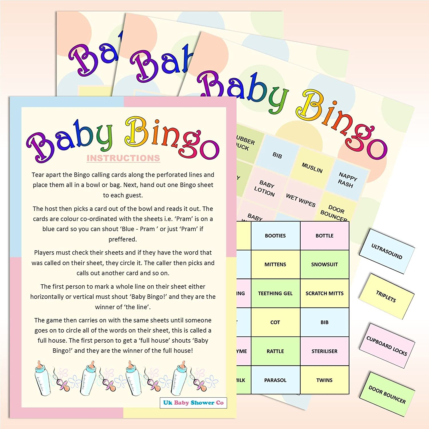20 Sheet Baby Shower Bingo Neutral Amazon Toys & Games