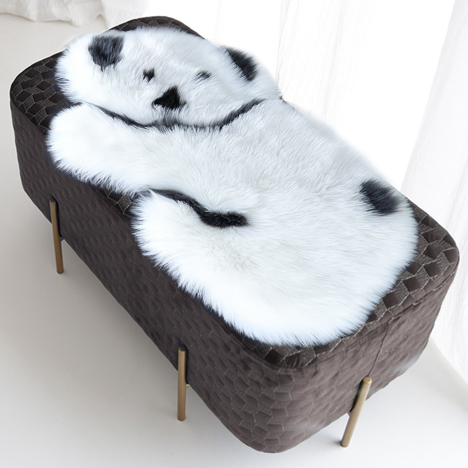 Noahas Faux Fur Sheepskin Silky Seat Cushion, Home Decor Long Wool Area Rugs Carpet, Soft Fluffy Plush Chair Seat Pads Universal Fit for Home Office Restaurant Chair (2x3 Feet, Style-5)