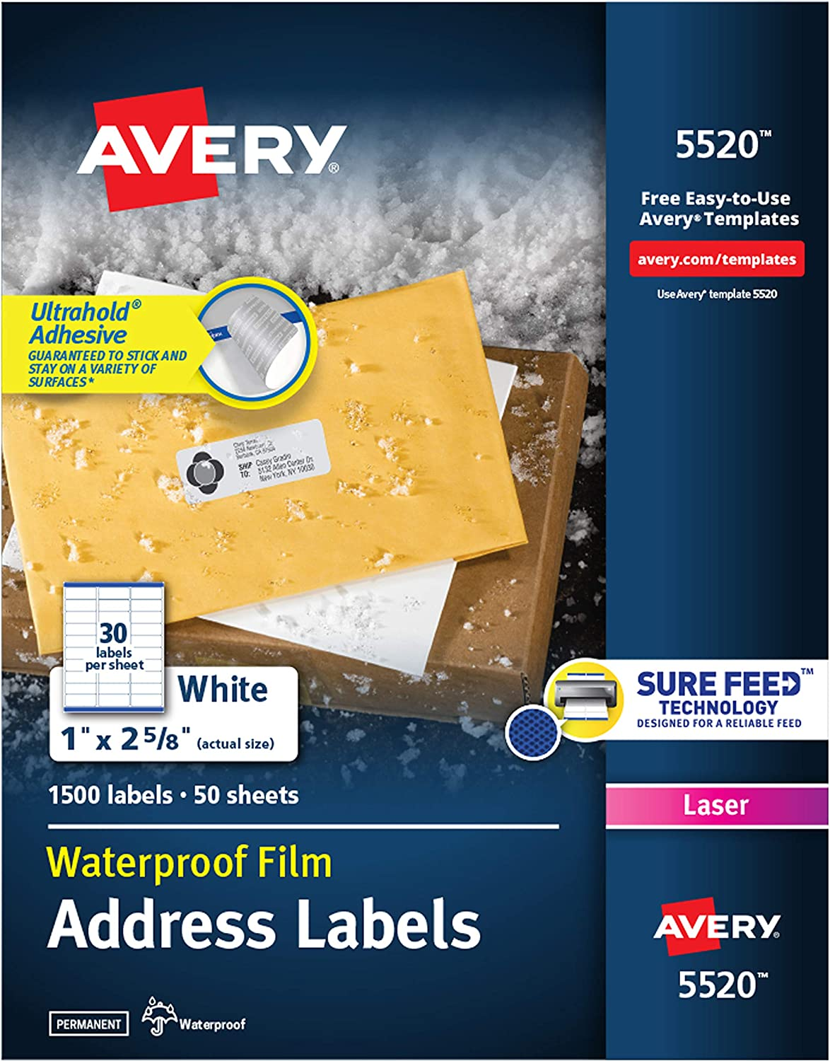 "Avery Waterproof Labels with Ultrahold Permanent Adhesive, 1"" x 2-5/8"", 1, 500 Labels for Laser Printers (5520) : Avery Waterproof Labels : Office Products"