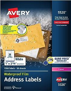 AVERY Waterproof Address Labels with Sure Feed & TrueBlock 1
