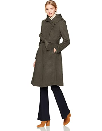 4a7753a2e7 Cole Haan Women's Luxury Wool Asymmetrical Coat with Oversized Shawl Collar