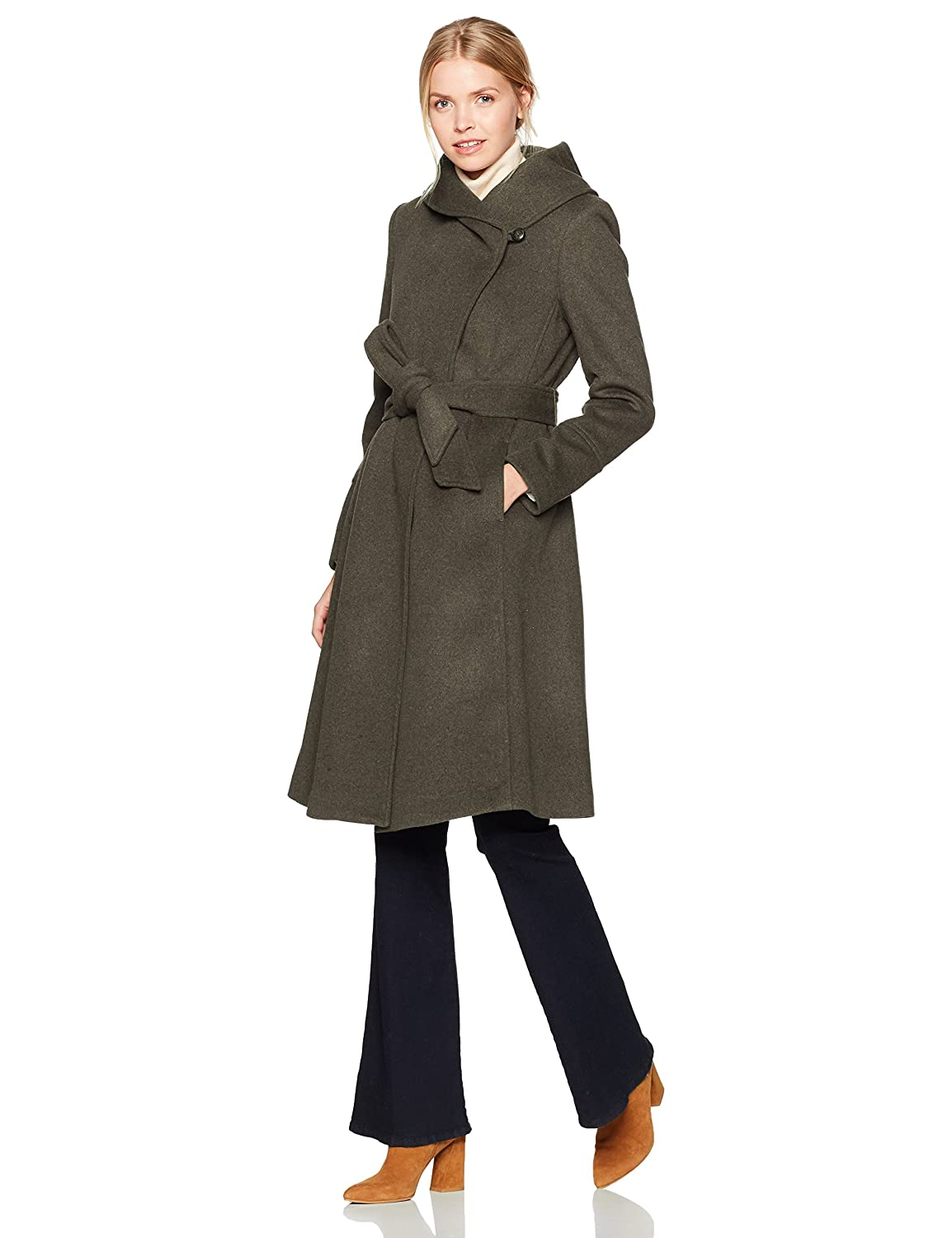 Cole Haan Womens Luxury Wool Asymmetrical Coat with Oversized Shawl Collar