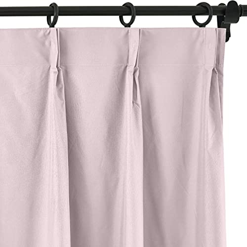 ChadMade 120 Blackout Curtain 96 Inch Length Drape Pinch Pleated Pink Drape with Foam Coated Liner Privacy Protection Full Shading Panel for Shift Worker Day Light Sleeper Bedroom 1 Panel