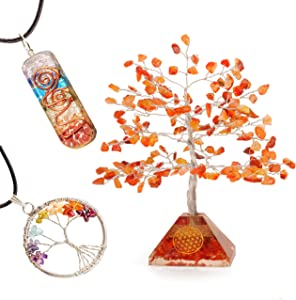 YATSKIA Carnelian Feng Shui Gemstone Crystal Tree of Life Necklace Pendant Reiki Positive Energy Healing Buddhist Sculpture Home Decor Spiritual Gift Good Luck Fortune Office Desk Kitchen Decorations