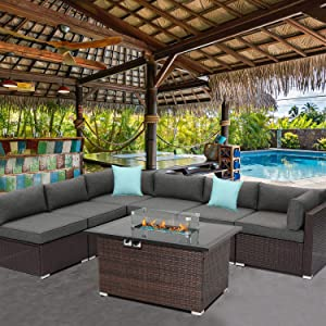 HOMPUS Outdoor Patio Furniture 7-Piece Wicker Sectional Sofa,Dark Gray Cushions w 44-inch x 32-inch Rectangle Propane Fire Pit Table(40,000 BTU),Internal Tank Storage,Glass Wind Guard