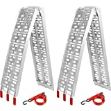 2PC 7.5/' Aluminum Truck Arched Ramp ATV Motorcycle Loading Ramp for Lawn Mower