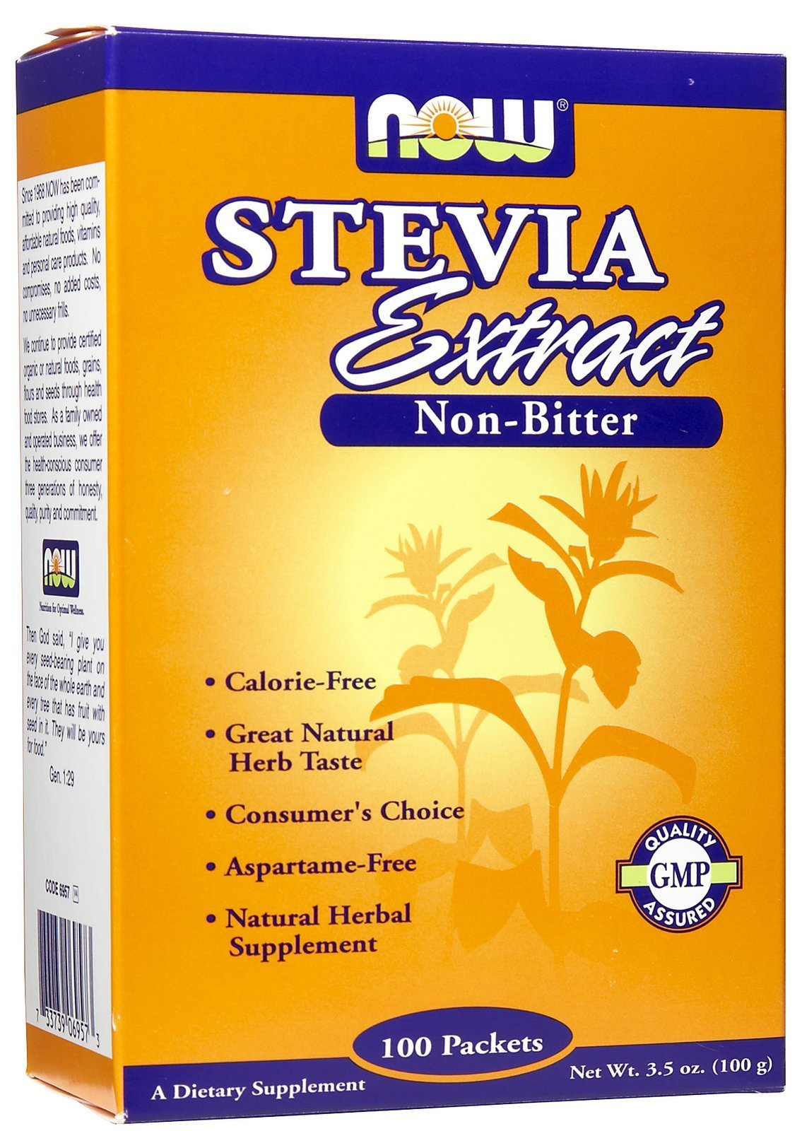 NOW Foods Stevia Extract Powder Packets - 100 ct, 3.5 Oz, 2-PACK