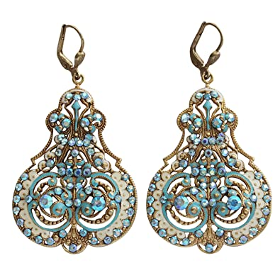 8d3016406 Catherine Popesco Goldtone Enamel Contessa Ornate Scroll Statement Chandelier  Earrings, 3012G Blue White: Catherine Popesco: Amazon.ca: Jewelry