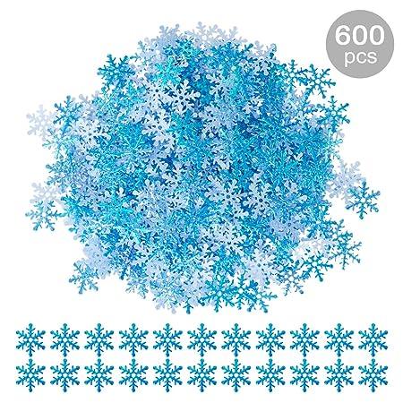 GWHOLE 600 Unidades Confeti Copo de Nieve Azul Decoración Materiales para Navidad Boda Fiestas Adornos Globo Festivo