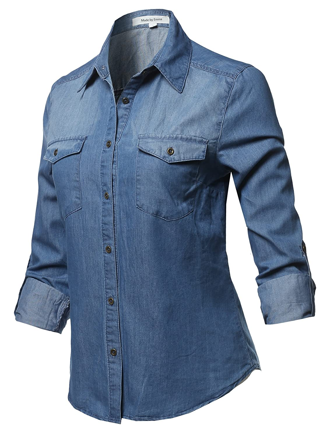 Made by Emma Women's Basic Classic Button Closure Roll Up Sleeves Chest Pocket Denim Chambray