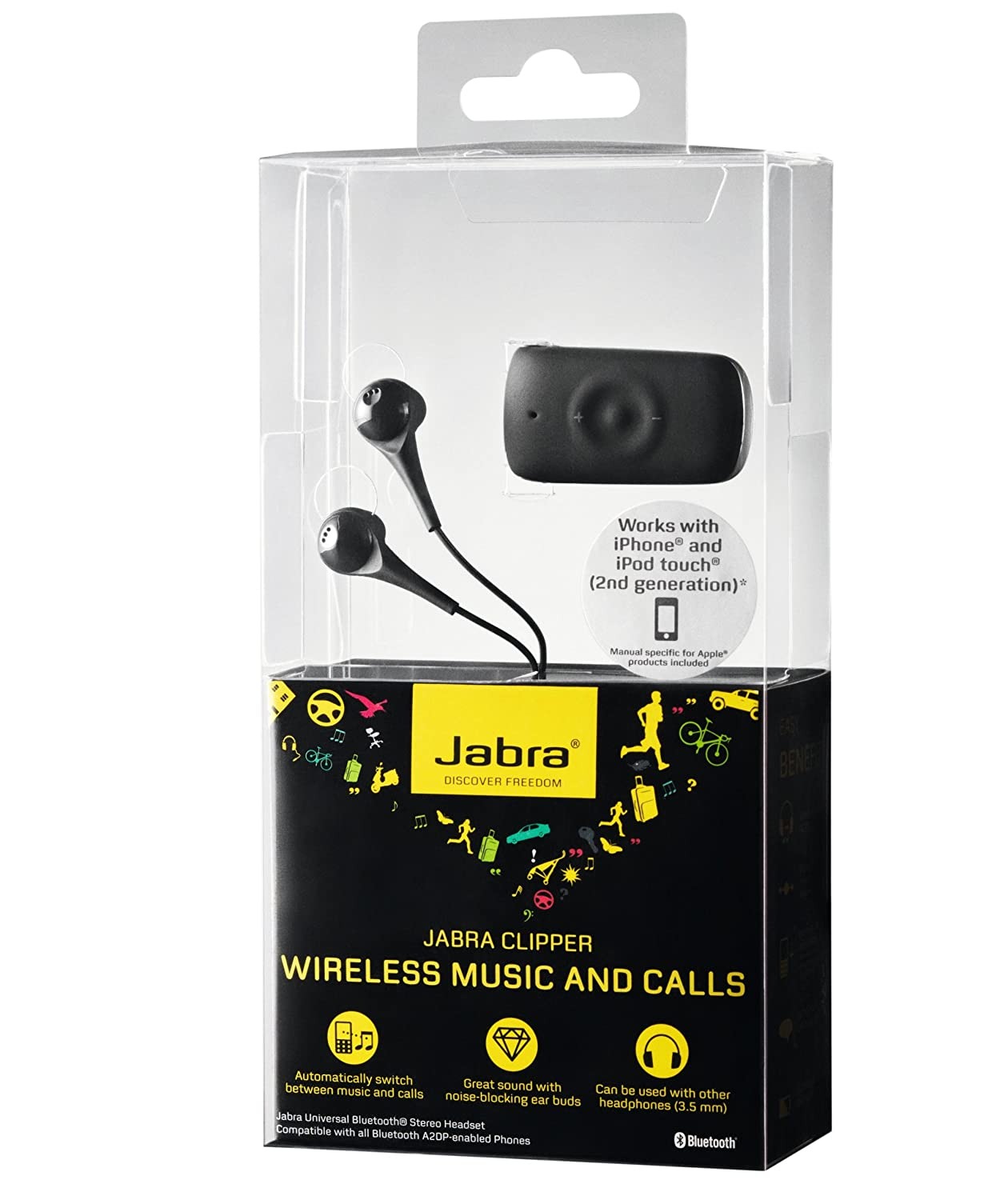 363cc4c4419 Amazon.com: Jabra CLIPPER Bluetooth Stereo Headset (Discontinued by  Manufacturer): Cell Phones & Accessories