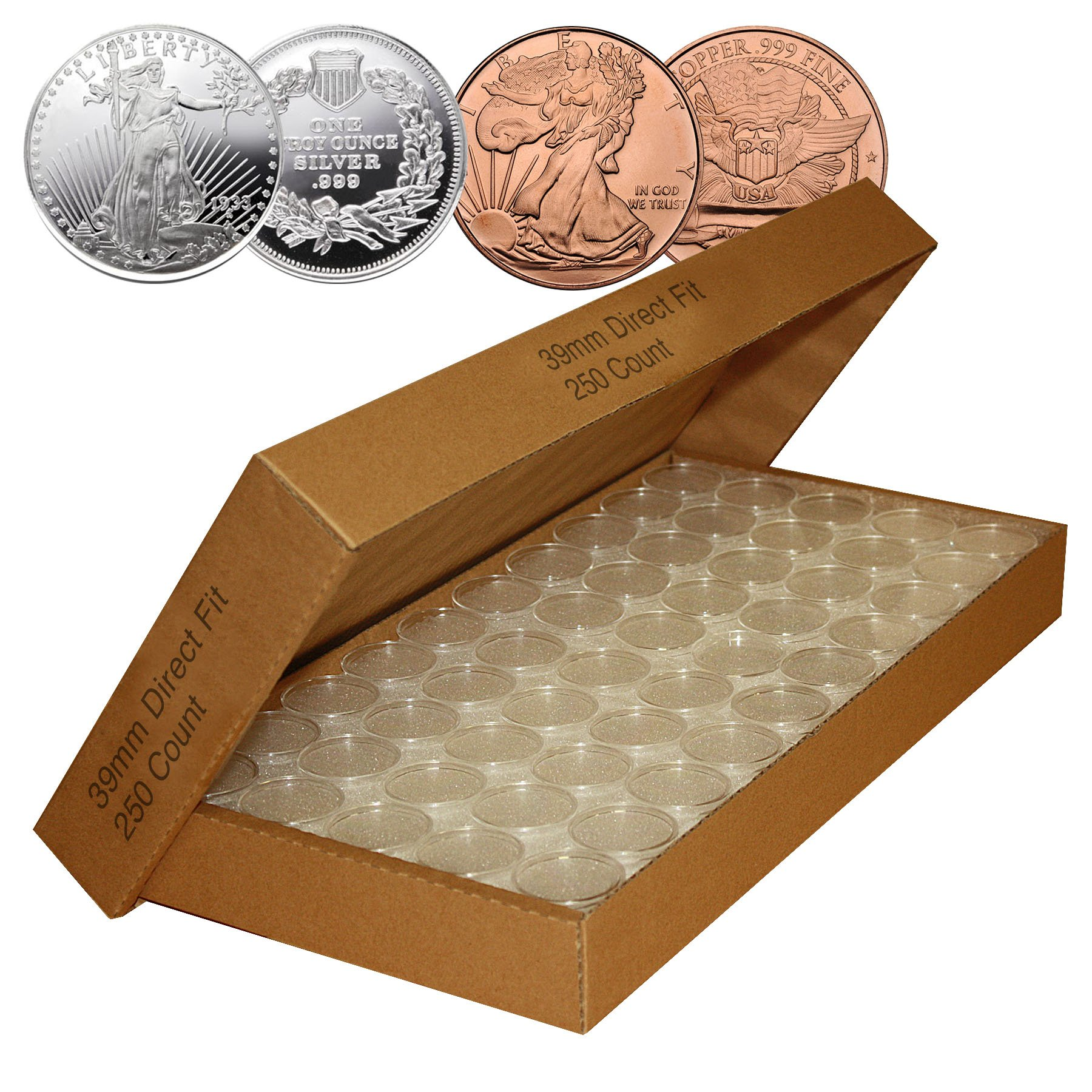 250 Direct Fit Airtight 39mm Coin Holder Capsules For 1oz SILVER & COPPER ROUNDS by Merrick Mint