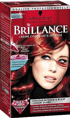schwarzkopf brillance coloration permanente rouge cachemire 842 - Coloration Rouge Permanente