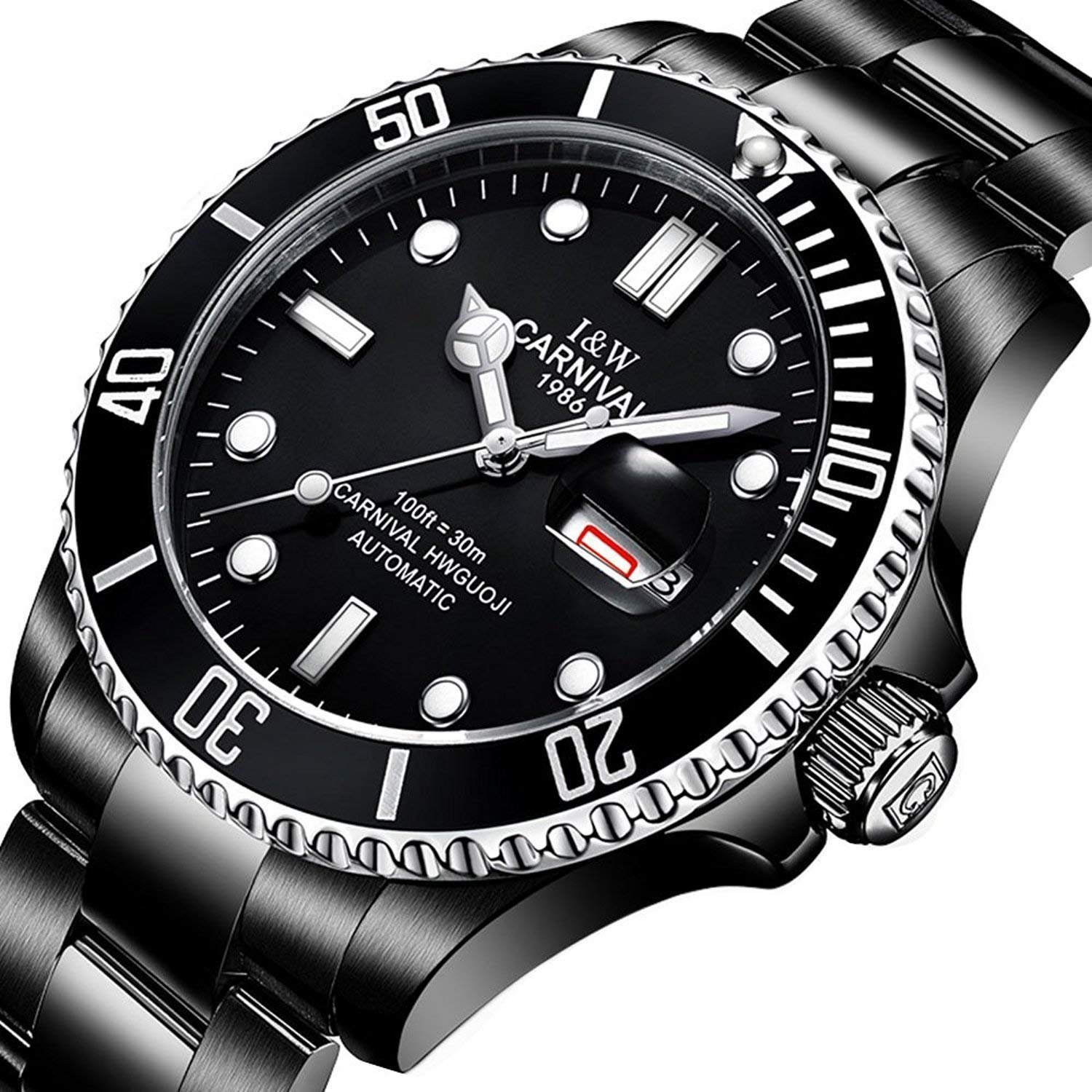 fcc97ff237c Amazon.com  Men Automatic Mechanical Watch Business Luxury Sport GMT  Watches Luminous Sapphire Glass Stainless Steel Diving Watch (Black)   Watches